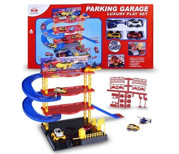 Garaż Piętrowy Parking Samochodowy 4 Poziomy Auta Zabawki